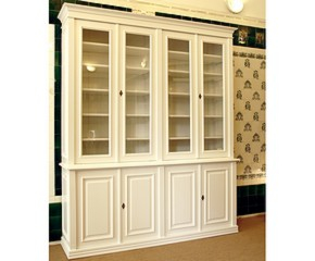 Bücherregal Mit Glastüren bücherschrank in weiß aus massivholz mit glastüren bücherschrank