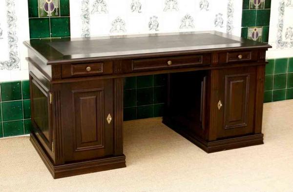 schreibtisch zum b cherregal massiv aus holz. Black Bedroom Furniture Sets. Home Design Ideas