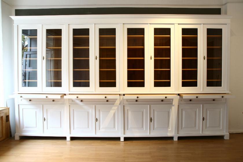 Geschirrschrank, massivholz Regalwand mit verglasten Türen WAND17 ...