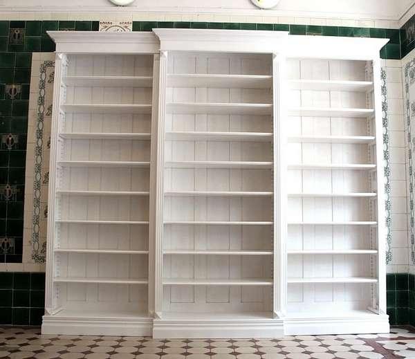 Bücherregal weiß  Bücherregal weiß lasiert Massivholz Bücherregal DREIER5 weiß mit ...