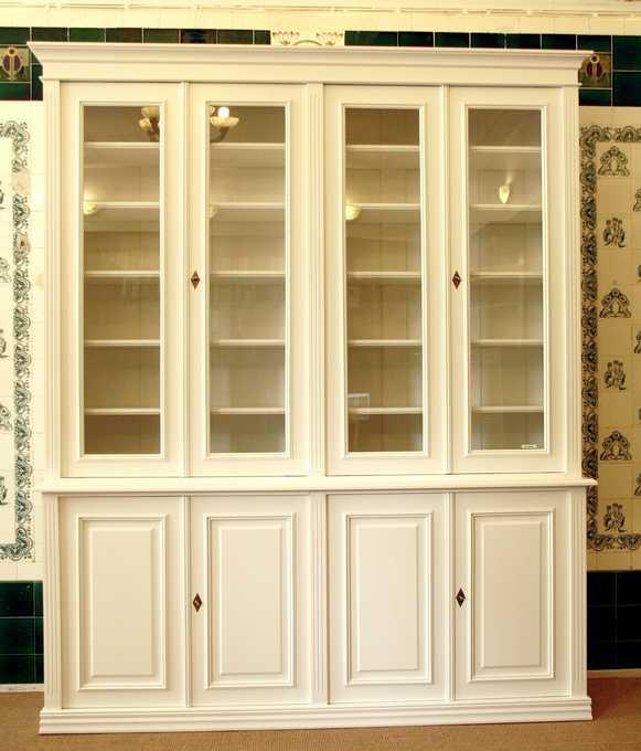 Bücherschrank in weiß aus Massivholz mit Glastüren Bücherschrank ...