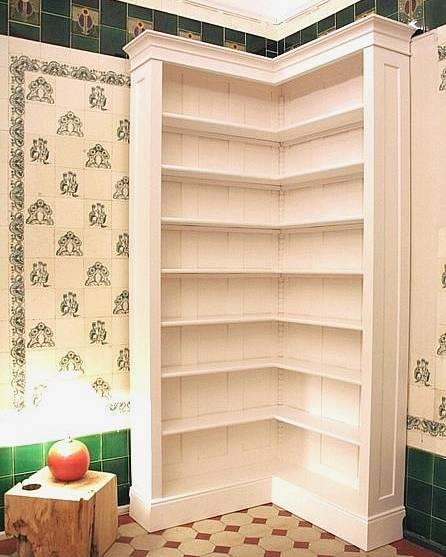 eckregal in wei aus massivholz b cherregal ecke eckregal. Black Bedroom Furniture Sets. Home Design Ideas