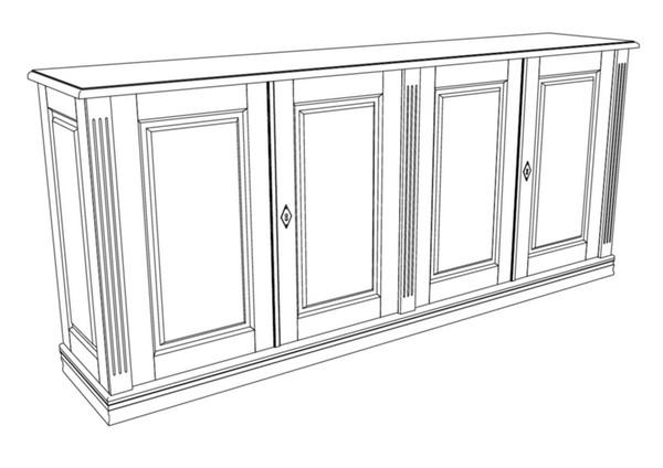 Anrichte 4 t rig aus massivholz anrichte 4 t rig for Sideboard zeichnung