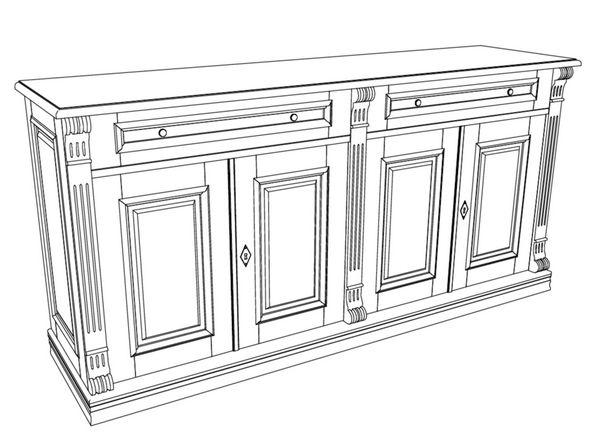 Kommode aus massivholz mit t ren und schubladen anrichte for Sideboard zeichnung