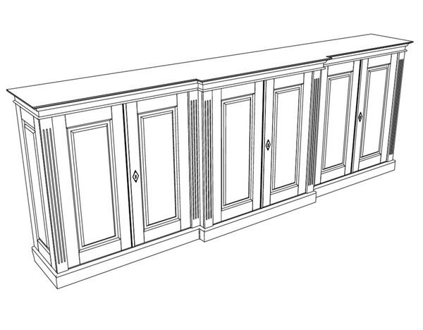 Kommode in weiss 6 t rig massivholz kommode mit t ren for Sideboard zeichnung